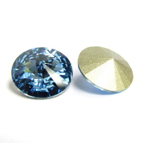 - 6 pcs Swarovski 1122 Crystal Round Rivoli Stone Silver Foiled Aquamarine 12mm / Findings / Crystallized Element