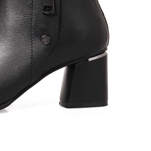 Moda Para Zapatos Cuero Formales Ásperos Punta Martin Tobillo Tacón Botas Mujer Tacones Boda De Alto Noche En Y Yan Negro Altos pwT0Oxqtt