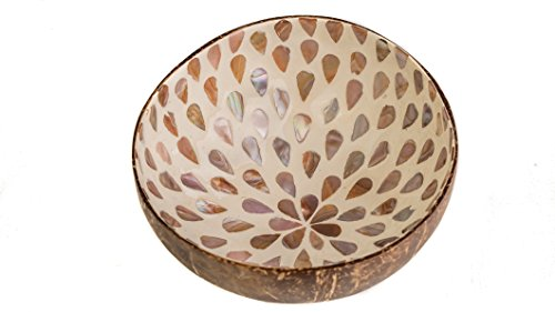 Beautiful Decorative Handmade Vietnamese Lacquered Natural Coconut Shell Bowls with Eggshell, Mother of Pearl, Gold and Silver Leaf Inlay (White Shell Inlay) by WhimMarket