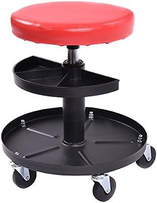 Pneumatic Chair Dual Tool Trays Rolling Garage Storage Organizer Creeper Stool