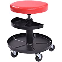 Goplus Adjustable Mechanics Rolling Creeper Seat Stool Pneumatic Chair Tray Padded Repair Shop Garage w/ 300 lbs Capacity