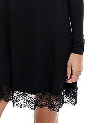 MAYSIKA Women's Lace Patchwork Long Sleeve Tunic Short Dress