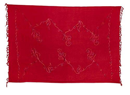 Kascha Trading - Camisola - para mujer Bunte Stickerei Rot