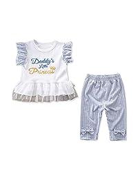 Camidy 2Pcs Kids Girl Clothes Set Lace Ruffles Top + Bowknot Pants Princess Outfit
