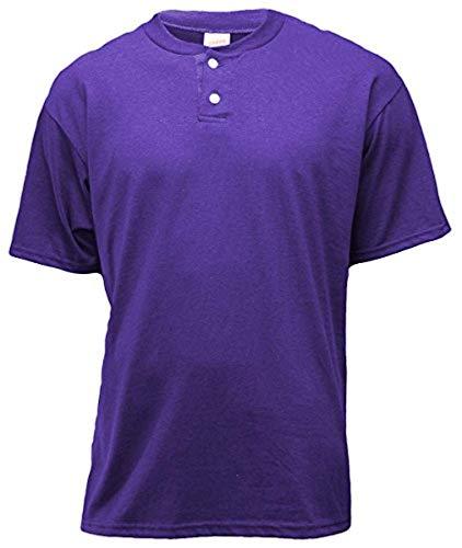 - Soffe Men's 2-Btn Henley 50/50 New Purple 2XL 2-Pack