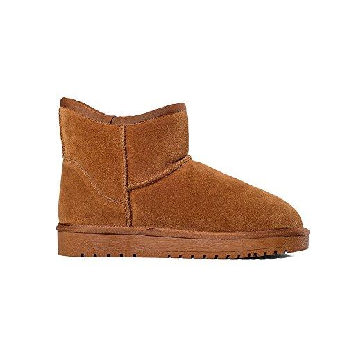 Allhqfashion Womens Frosted Aantrek Ronde Gesloten Teen Lage Hakken Low-top Snow-boots Camel