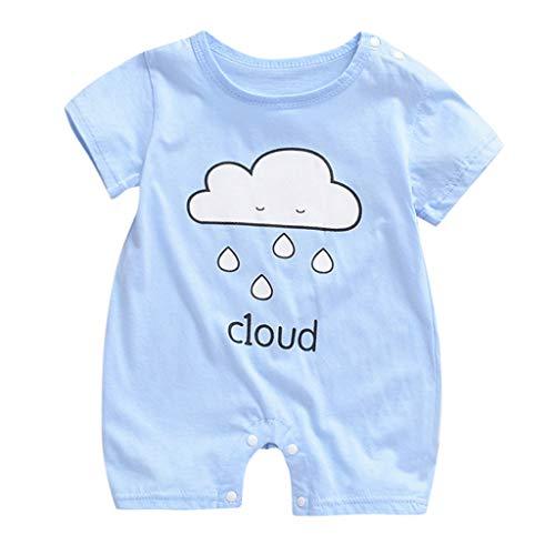 Sherostore ♡ Baby Cute Summer Jumpsuits for Girls Kids Printed Romper Jumpsuit Toddler Pants Size 0M-18M Light Blue