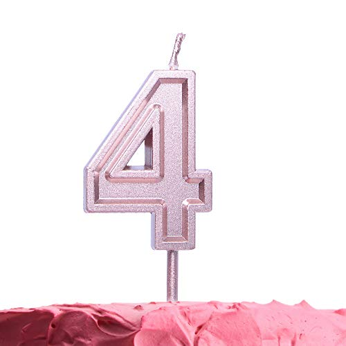 Get Fresh Number 4 Birthday Candle - Rose Gold Number Four Candle on Stick - Elegant Pink Number Candles for Birthday Wedding Anniversary - Perfect Baby's 4th Birthday Cake Candle -