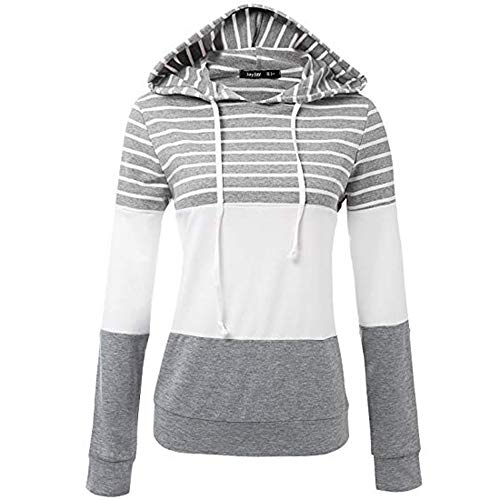 Felt Lined Cat Collar - HYIRI Women's Ladies Stripe Hooded Long Sleeve Bottoming Shirt Blouse Sweatshirt