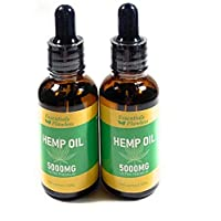 Pure Organic Hemp Oil 2 pack (5000mg, 100% Natural, 60ML Drops, Helps with loss of appetite Quality, Hemp Oil Seed, Help relief Anxiety, Pain, Stress