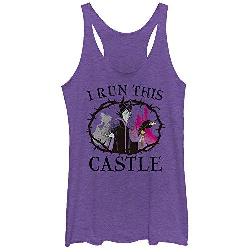 Sleeping Beauty Women's Maleficent Castle Purple Heather Racerback Tank ()