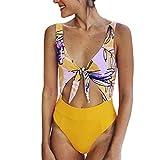 Women Swimsuits Tankini with Shorts,Women Fashion Sexy Print One-Piece Jumpsuit Beachwear Swimwear Push-up Bikini,Women's Plus Swimwear,Yellow,L