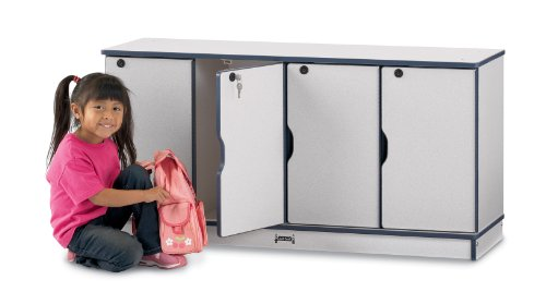 Rainbow Accents 4688JC003 Stacking Lockable Lockers, Single Stack, Blue ()