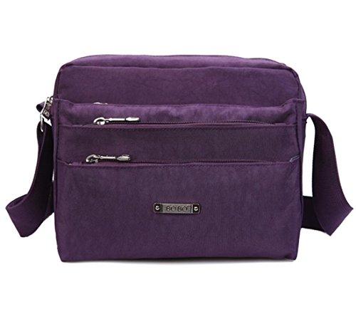 Messenger Women for Bag Shoulder Unisex Nylon amp; Bag with body Lightweight Cross Zipper Pockets mini Casual Purple Men qSxFw8pCx