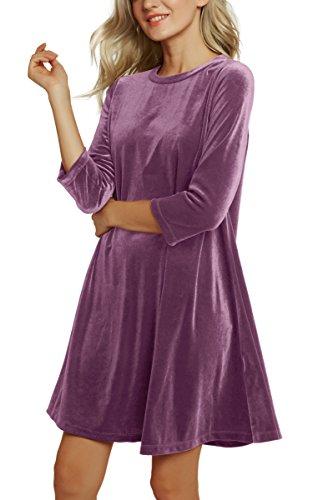 Soire Courte de Briller 3 Velours Lavander Vintage GoCo Robe Femme Robe Manches Cocktail de Midi de Urban 4 2 xHnBqw