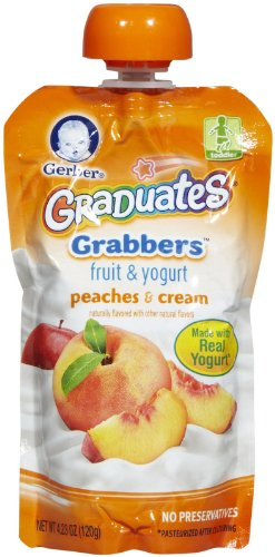 Gerber Graduates Grabbers - Peaches & Cream - 4.23 oz - 6 pk
