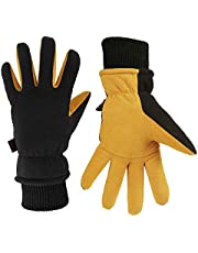 OZERO Winter Gloves Deerskin Leather Insulated Glove Work for Men and Women