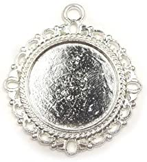 【HARU雑貨】シルバー ミール皿 1枚/花柄 レース カン付 銀 s32/セッティング レジン アクセサリーパーツ