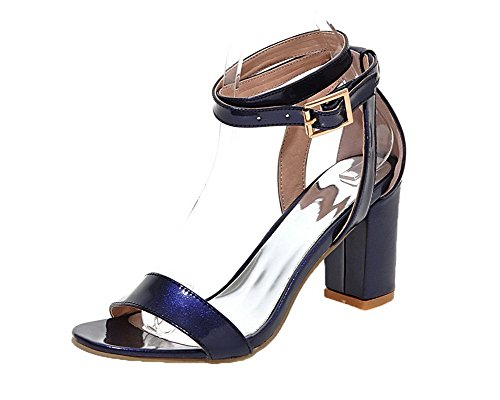 Buckle Solid Sandals Toe Purple WeiPoot Open Heels Pu Women's High Cc0nqnW5v