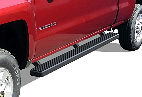 APS iBoard (Black Powder Coated 4 inches) Running Boards | Nerf Bars | Side Steps | Step Rails for 2001-2013 Chevy Silverado/GMC Sierra 1500 Crew Cab & 2001-2014 2500/3500 (Excl. C/K Classic)
