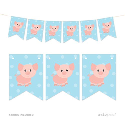 Andaz Press Hanging Pennant Party Banner with String, Farm Animal Pig, 9-Feet, 1-Set, Decor Paper Decorations, Includes String
