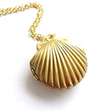 Sea Shell Locket, Mermaid Valentine Necklace, Beach Locket, Gold Tone Brass, Little Shell Locket, Nautical Jewelry