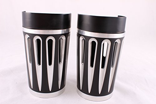 Black Retro Fork Boots (Black Plated Retro Fork Boot Slider Covers for Harley 86-13 FLH/T Electra Glide)