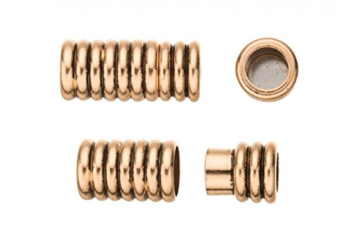 (2Pcs Swirl Tube Shape Magnetic Jewelry Clasps Glue-In Ends - Antique Gold Finished 9x20mm)