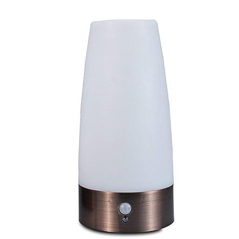 Dxlta LED Lámpara de Mesa con Sensor de Movimiento Pir de Pilas Sensor Movimiento Mesa Lámpara Mesilla