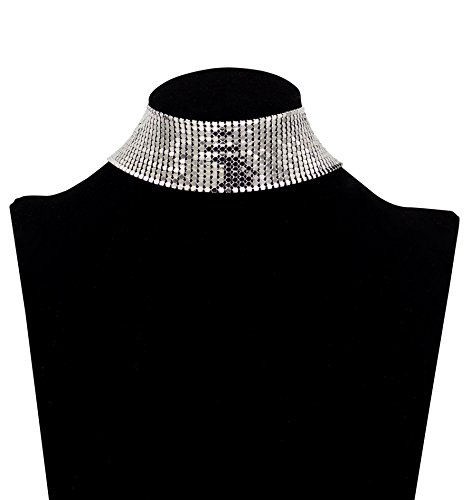 Zealmer Sequins Metal Choker Silver Glitter Mesh Chain Necklace for Women