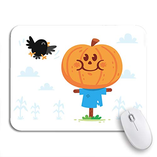 Halloween Sweets Clipart (rouihot Gaming Mouse Pad Halloween Clipart! Cute and Sweet Scarecrow with a Pumpkin Head Have a Crow Friend 9.5