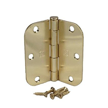 Polished Brass Door Hinge - (Pack of 2) 3 1/2 Inch Polished Brass Door Hinges with 5/8