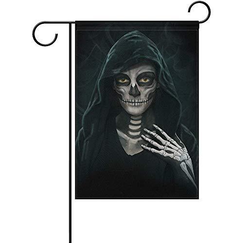 (Cvhtr3m Halloween Makeup Skeleton Polyester Garden Flag Double-Sized Print Decorative Holiday Home Flag, 12 x 18)