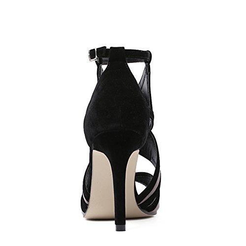 Dress Stiletto Heel Womens Black Party Cutouts Pump Velvet High Strappy Colorblock 1wXXOnBxY