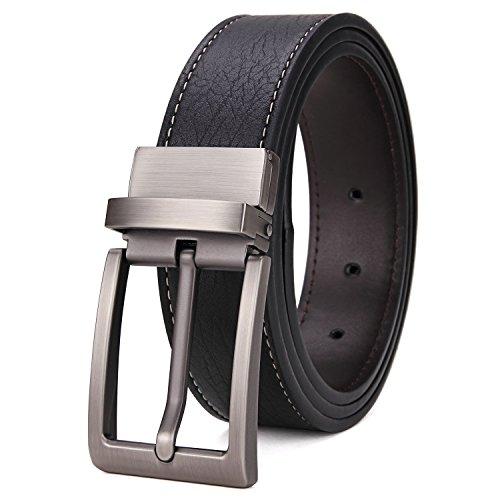 Matasuha Men's Reversible Belt Dress Leather Belts For Men Rotated Buckle Black, 45 46 Waist Big And (Metallic Reversible Belt)