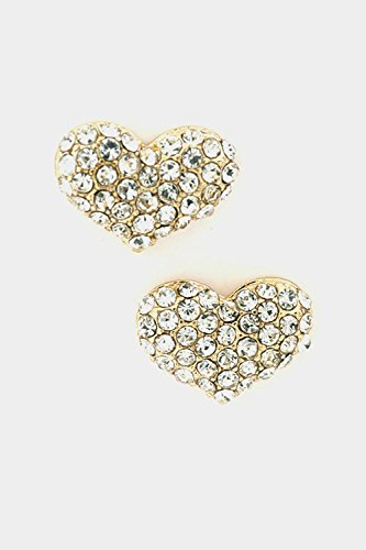 Trendy Fashion Jewelry Heart Rhinestone Paved Post Earring By Fashion Destination   (Gold/Clear)