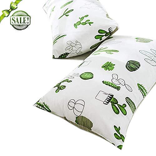 (FenDie Cactus Pattern Pillow Cases Set of 2 Standard Cotton Pillow Covers Decorative Reversible Modern Grid Kids Boys Girls Pillowcases Queen, Envelope Closure End, White Green)