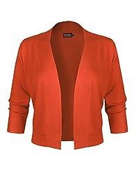 Basic Basic Bbp Classic 3 4 Sleeve Open Front Cropped Bolero Cardigan Orange S