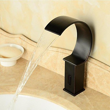 GDS Wasserhahn,Zeitgenössisch deckenmontiert Wasserfall   Sensor with Elektromagnetventil Hände frei Ein Loch for Bronze mit Ölschliff , Waschbecken