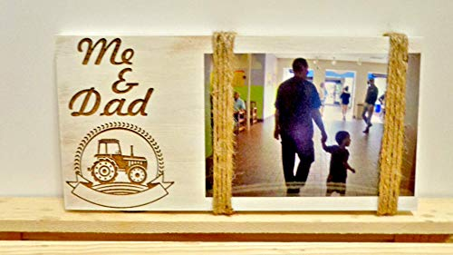 Large Frame Tractor - Tractor Dad and Me Picture Frame, Tractor, Dad Christmas Gift, Grandpa Christmas Gift, Dad Gift, Father's Day Gift, Grandpa Gift, Tractor Lover Gift Rustic Frame Distressed Engraved Tractor
