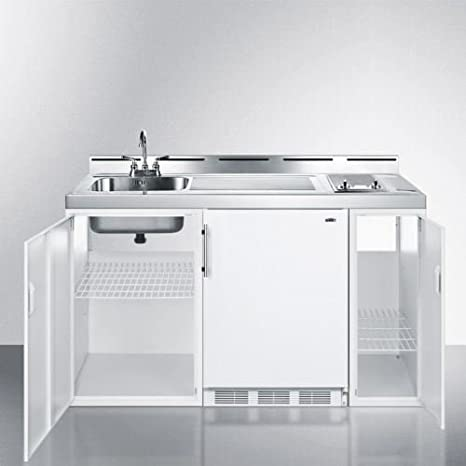 60u0026quot; Wide All In One Kitchenette   White Model C60ELGLASS