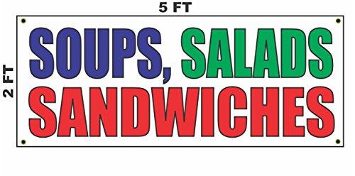 SOUPS SALADS & SANDWICHES Banner Sign 2X5 for Food Truck Bar Restaurant Convenience Store Cart