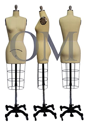Female Professional Dress Form Mannequin with Collapsible Shoulders Size 4 (Collapsible Series) by Om