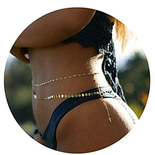 Simsly Waist Body Jewelry with Gold Sequins Belly Button Chains for Women and Girls BD-08 (Gold)