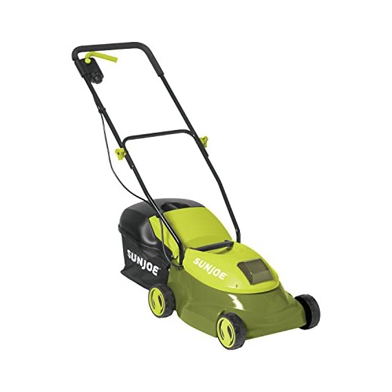 """Sun Joe MJ401C, 14 inches, Green 2 POWERFUL: Perfect for small to medium lawns, battery-powered mower's durable steel blade cuts a crisp 14"""" wide path with precision in a single pass PERFORMANCE: The 28 V 4 Ah rechargeable lithium-ion battery for up to a quarter acre of continuous mowing per charge ADJUSTABLE DECK: Tailor cutting height with 3-position manual height adjustment"""