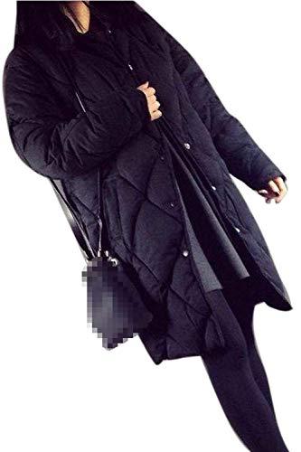 Acolchado Largo Elegantes Manga Negro Transición Botón Casuales Delgado Invierno Termica Parkas Retro Día Mujer Abrigo Parka qUBw5fn6