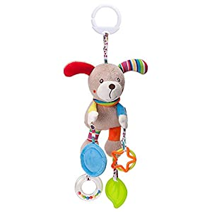 Fxhan Baby Plush Toy Cartoon Animal Teether Hanging Ornament for Bed Stroller Puppy