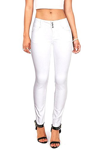 (Wax Women's Juniors Body Flattering Mid Rise Skinny Jeans White 5)