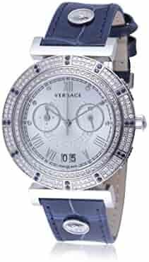 Versace Unisex VA9090013 Vanity Chrono Analog Display Swiss Quartz Blue Watch