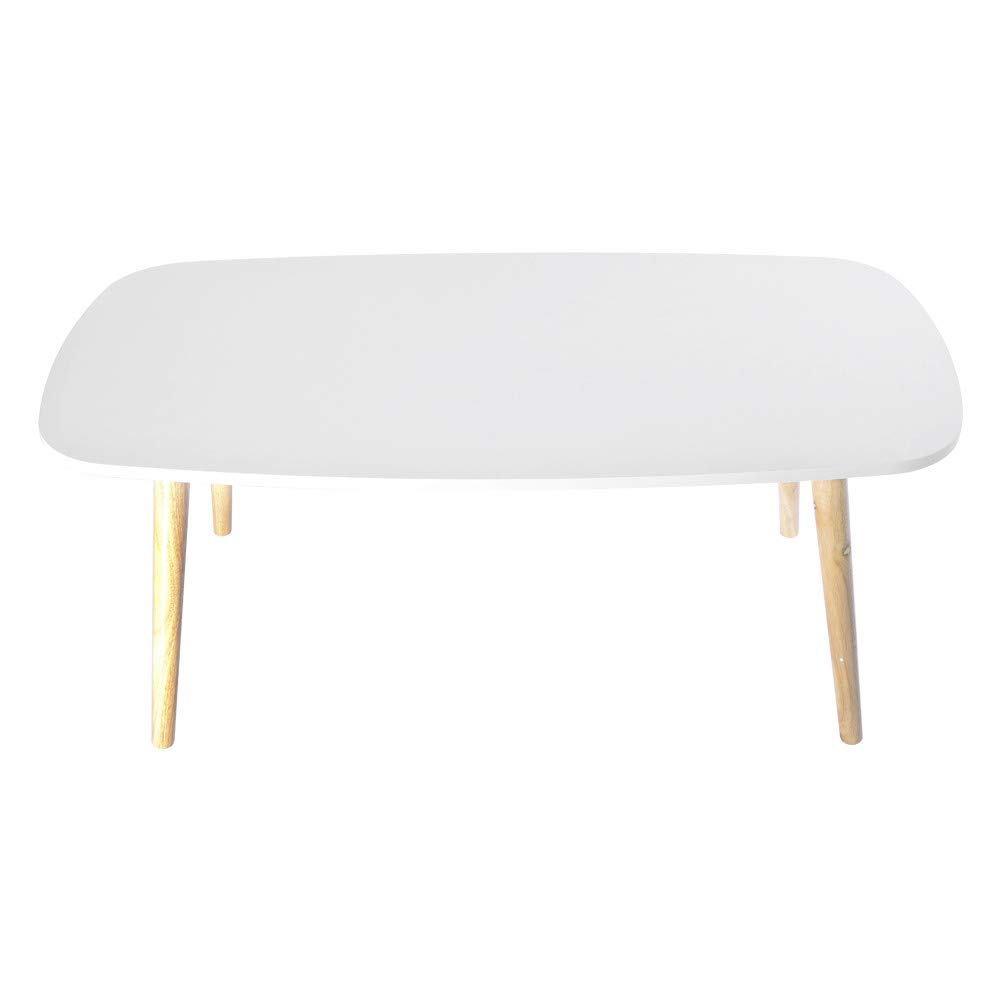Nordic Style Coffee Table - Simple and Modern Small and Medium-Sized Tables Fashion Coffee Table Rectangular Arc Table Solid Wood Tables - for Bedroom/Living Room/Apartment - Easy to Clean (White) by QIANSKY